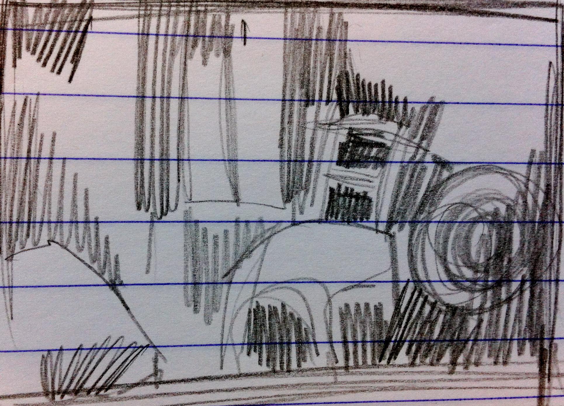 skisse til akvarell - mitt rom