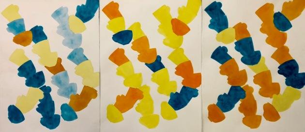 Blå, gul, orange (triptyk)